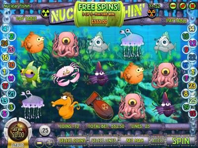 Spartan Slots featuring the Video Slots Nuclear Fishin' with a maximum payout of $1,875