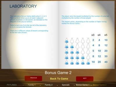 Laboratory bonus game rules
