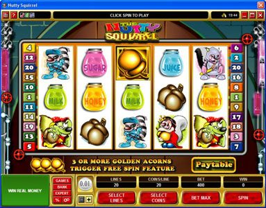 Chanz featuring the Video Slots Nutty Squirrel with a maximum payout of $50,000