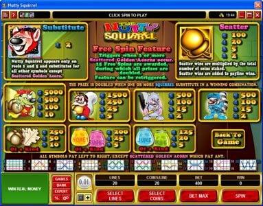 Lucky247 featuring the Video Slots Nutty Squirrel with a maximum payout of $50,000