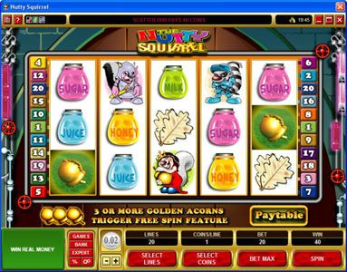 Vegas Joker featuring the Video Slots Nutty Squirrel with a maximum payout of $50,000