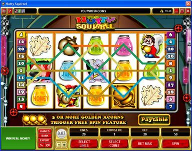 Play slots at Royal Vegas: Royal Vegas featuring the Video Slots Nutty Squirrel with a maximum payout of $50,000