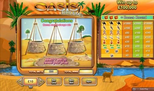 Karamba featuring the Video Slots Oasis Dreams with a maximum payout of $100,000
