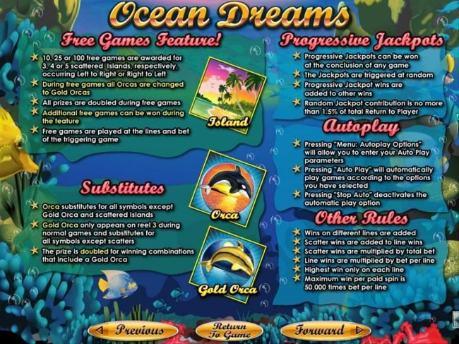 Mighty Slots featuring the Video Slots Ocean Dreams with a maximum payout of $250,000