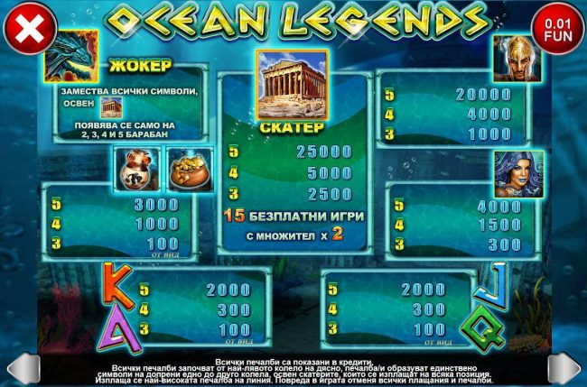21 Nova featuring the Video Slots Ocean Legends with a maximum payout of $25,000