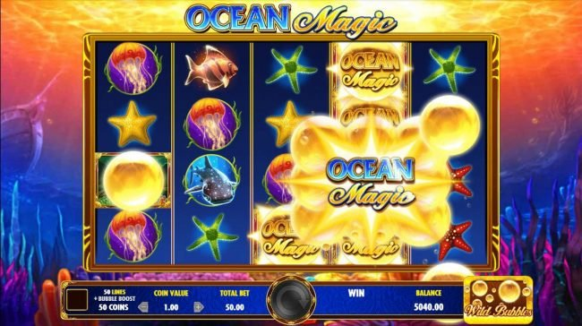 Clover Casino featuring the Video Slots Ocean Magic with a maximum payout of $25,000,000