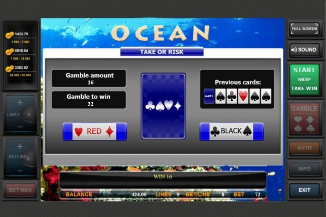 Ocean :: Gamble Feature Game Board