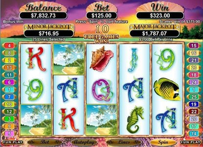 Platinum Reels featuring the Video Slots Ocean Dreams with a maximum payout of $250,000