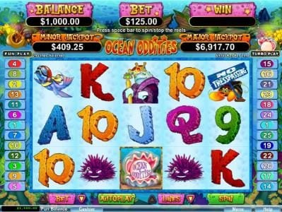 Ruby Slots featuring the Video Slots Ocean Oddities with a maximum payout of $50,000