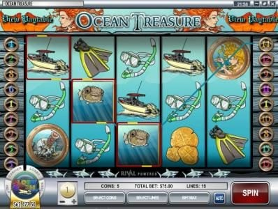 Cafe featuring the Video Slots Ocean Treasure with a maximum payout of $25,000