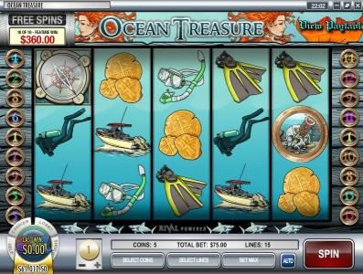Vanguard featuring the Video Slots Ocean Treasure with a maximum payout of $25,000