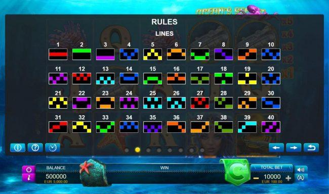 Ocean's Secret :: Paylines 1-40