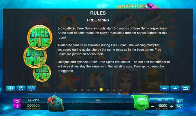 Ocean's Secret :: Free Spins Rules