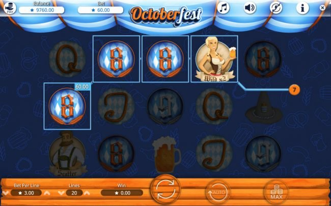 Play Club Casino featuring the Video Slots Octoberfest with a maximum payout of $60,000