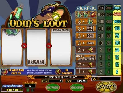 Mission 2 Game featuring the video-Slots Odin's Loot with a maximum payout of
