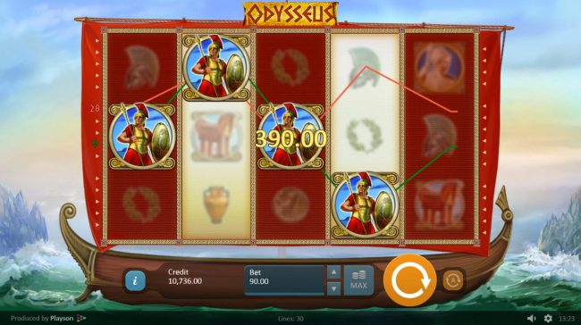 ReelTastic featuring the Video Slots Odysseus with a maximum payout of $45,000