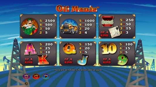 Money Reels featuring the Video Slots Oil Mania with a maximum payout of $5,000
