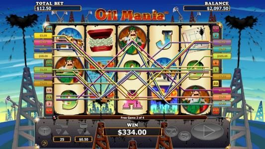 a $300+ jackpot triggered by multiple winning paylines during the free games feature