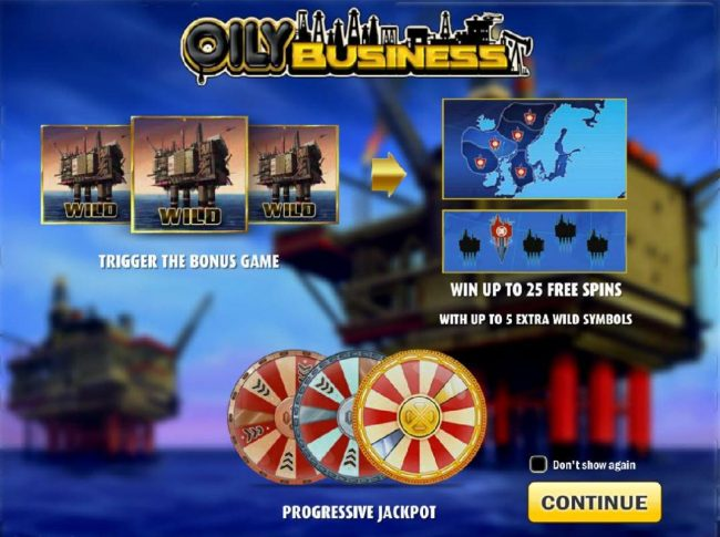 3 oil rig wild symbols trigger the bonus game. Win up to 25 free spins. Progressive Jackpot