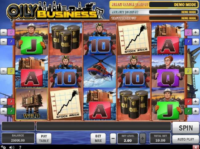 Main game board featuring five reels and 5 paylines with a progressive jackpot max payout