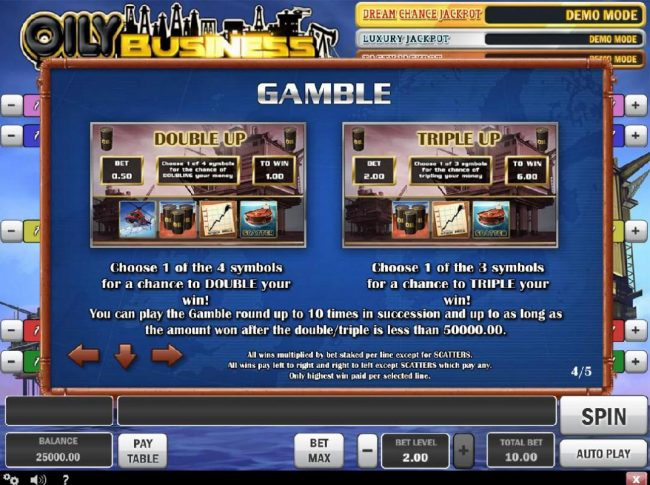 Gamble Feature - Choose between two gamble features Double Up or Triple Up.