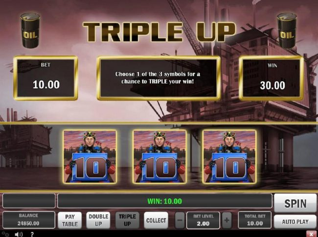 Triple Up Feature - Choose 1 of 3 symbols for a chance to triple you win!
