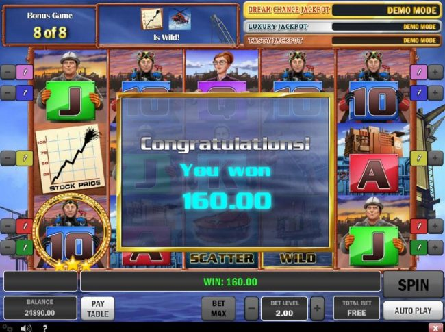 Bonus Free Spins pays out a total of 160.00