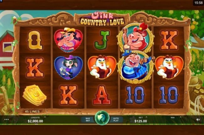 Play slots at Golden Palace: Golden Palace featuring the Video Slots Oink Country Love with a maximum payout of $12,500