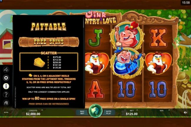 Play slots at Jackpot Paradise: Jackpot Paradise featuring the Video Slots Oink Country Love with a maximum payout of $12,500