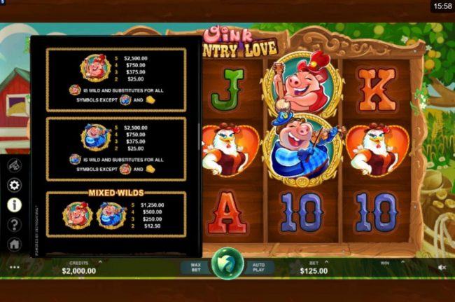 Casino France Net featuring the Video Slots Oink Country Love with a maximum payout of $12,500