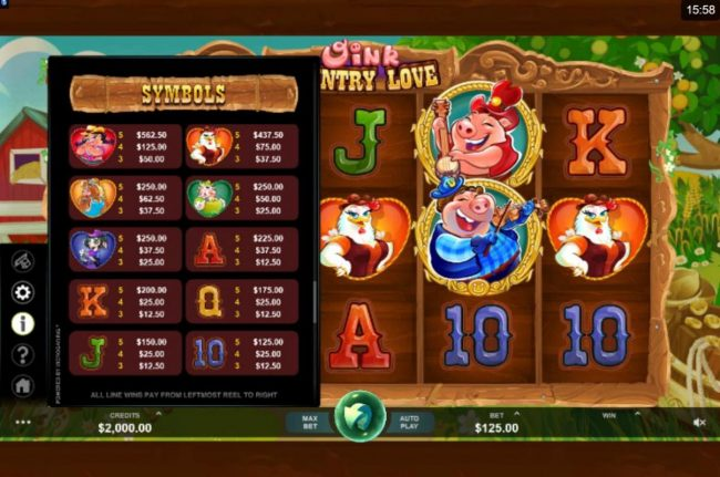 Casino Cruise featuring the Video Slots Oink Country Love with a maximum payout of $12,500