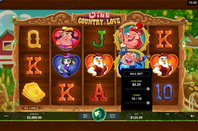 Casino-X featuring the Video Slots Oink Country Love with a maximum payout of $12,500