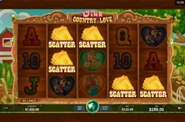 Play slots at Grand Mondial: Grand Mondial featuring the Video Slots Oink Country Love with a maximum payout of $12,500