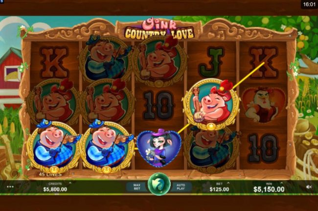Vegas Palms featuring the Video Slots Oink Country Love with a maximum payout of $12,500