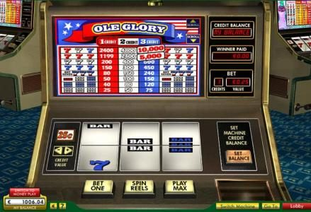 Vegas Winner featuring the Video Slots Ole Glory with a maximum payout of $20,000