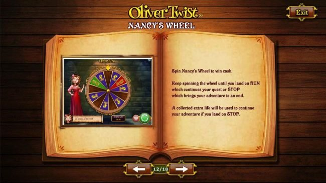 Spin Nancys Wheel to win cash.