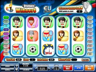 Win 7 featuring the Video Slots Olympic Winners with a maximum payout of $20,000