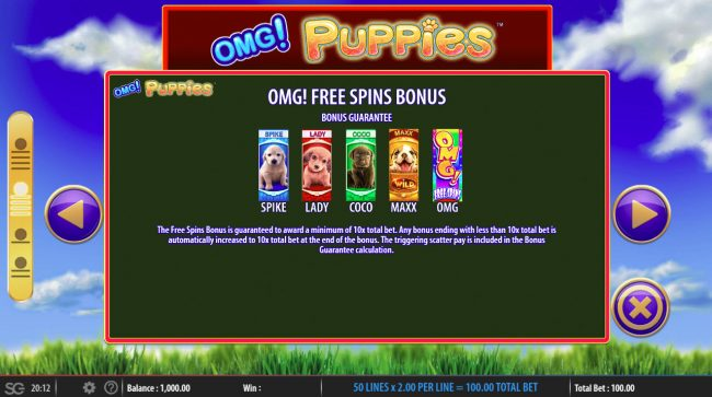 OMG! Puppies :: Free Spins Rules