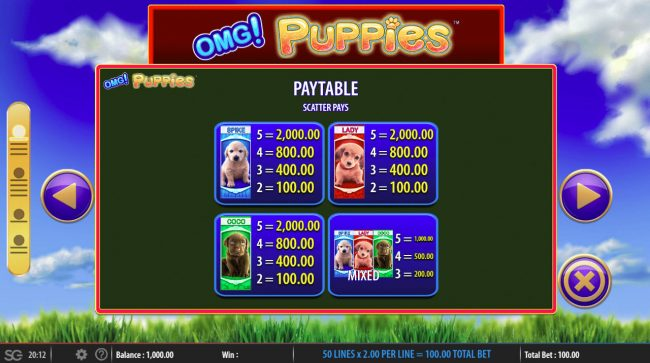 OMG! Puppies :: Paytable