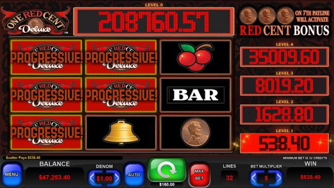 One Red Cent Deluxe :: Jackpot Win