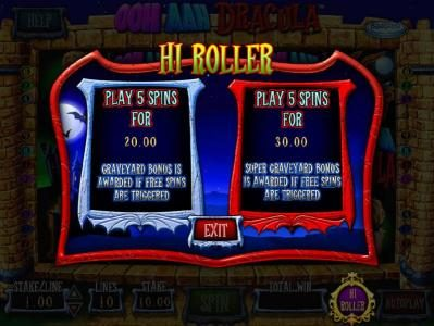 Lucky Bets featuring the Video Slots OOH AAH Draclua with a maximum payout of $5,000