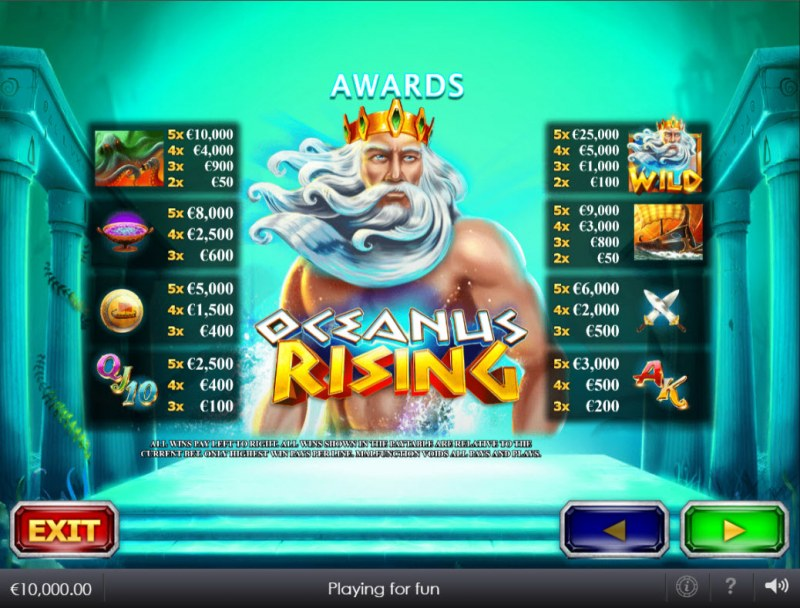 Oceanus Rising :: Paytable