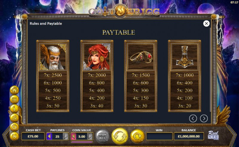 Odin and Frigg :: Paytable - High Value Symbols