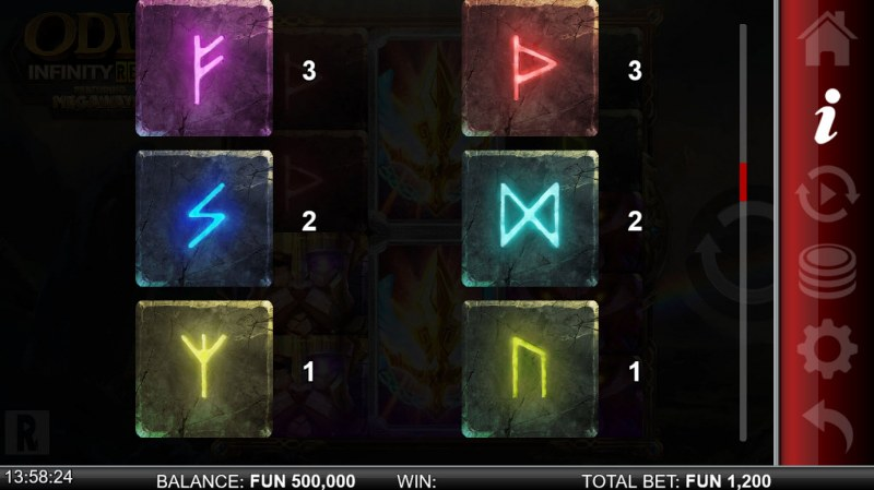 Odin Infinity Reels Megaways :: Paytable - Low Value Symbols