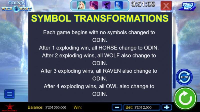 Odin's Wild Hunt Bonus Ways :: Symbol Transformations