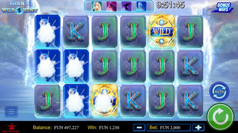 Odin's Wild Hunt Bonus Ways :: Winning symbols are removed from the reels and new symbols drop in place