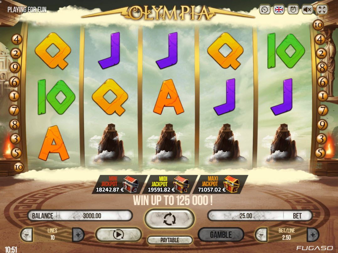 Play slots at 14 Red Casino: 14 Red Casino featuring the Video Slots Olympia with a maximum payout of $125,000