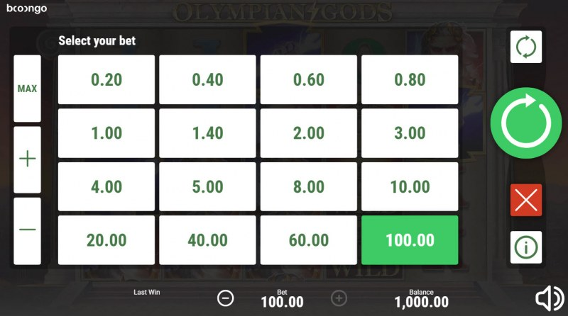 Olympian Gods :: Available Betting Options