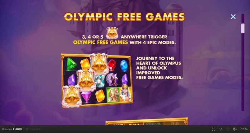 Olympic Cash :: Free Spins Rules