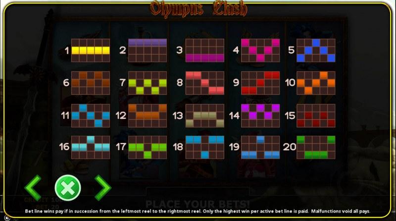 Olympus Clash :: Paylines 1-20